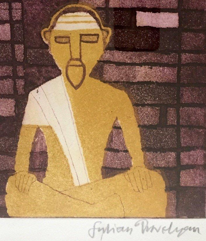 Modern Indian Aquatint Etching, The Guru, Signed - 3