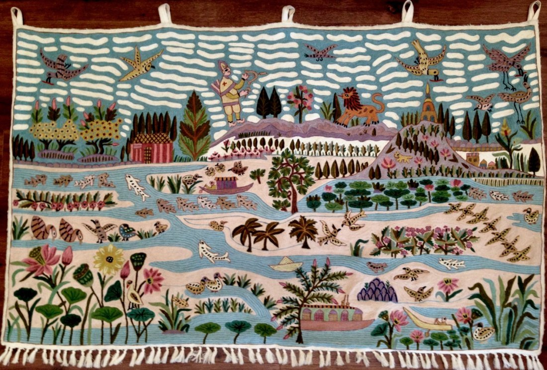 Haitian Handwoven Pictorial Folk Art Wall Tapestry