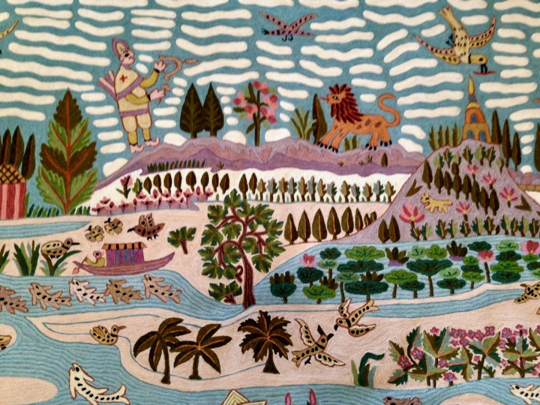 Haitian Handwoven Pictorial Folk Art Wall Tapestry - 2