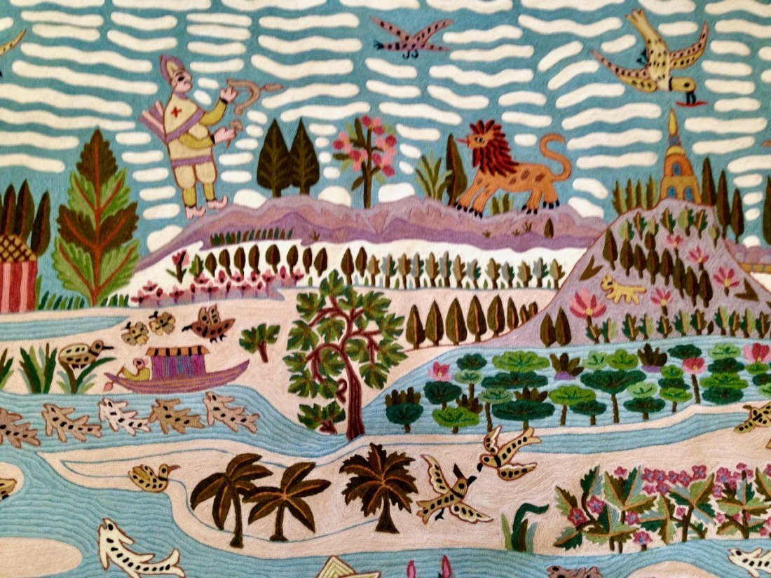 Haitian Handwoven Pictorial Folk Art Wall Tapestry - 5