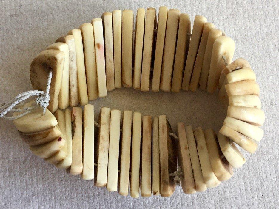 Antique Carved Bone Bangle Bracelet - 2