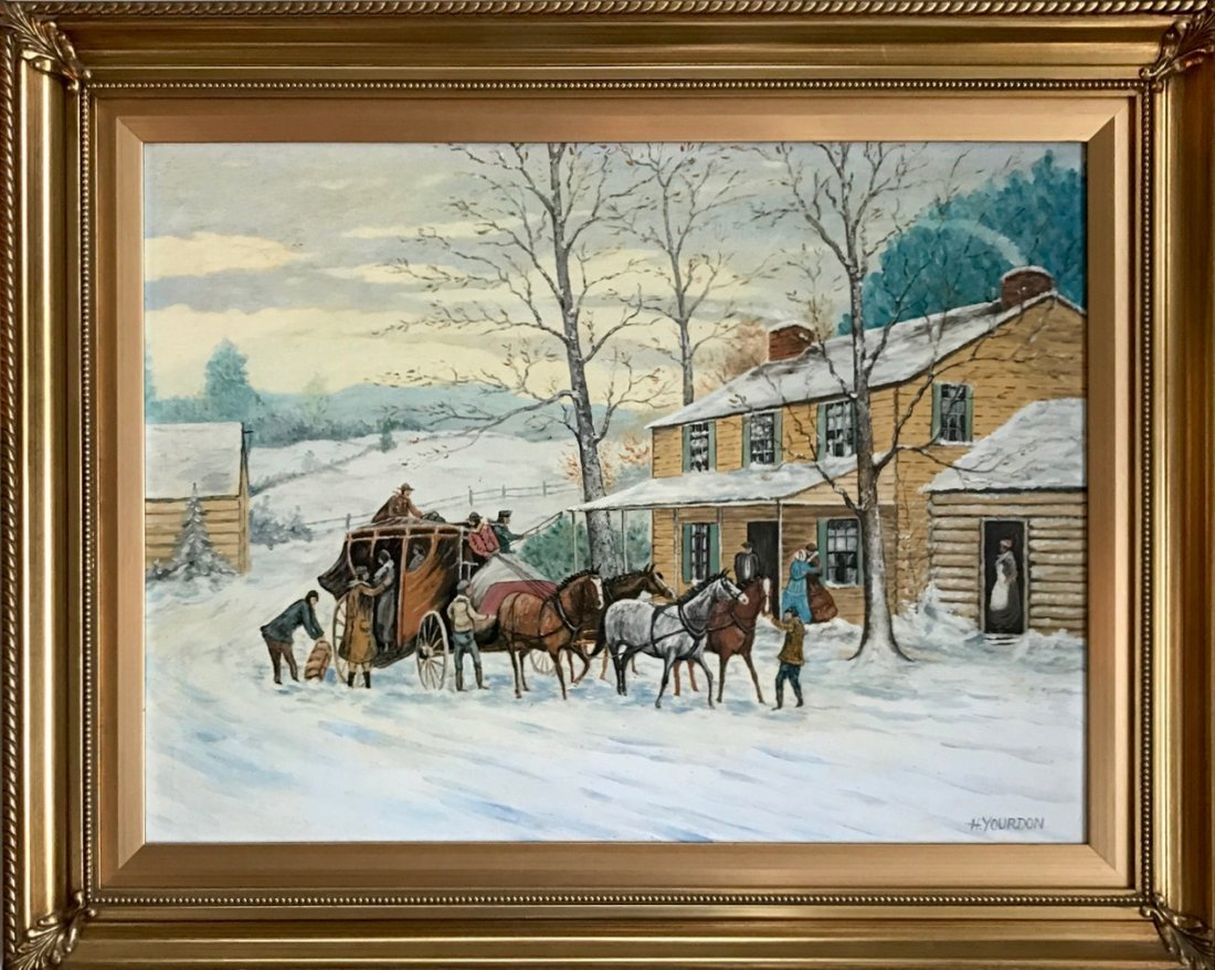 Winter Stagecoach Landscape Painting, H. Yourdon