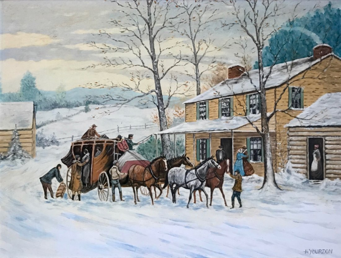 Winter Stagecoach Landscape Painting, H. Yourdon - 2