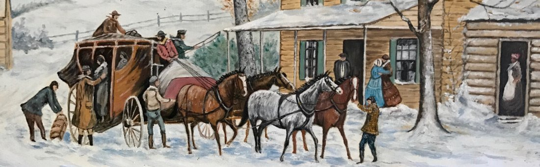 Winter Stagecoach Landscape Painting, H. Yourdon - 5