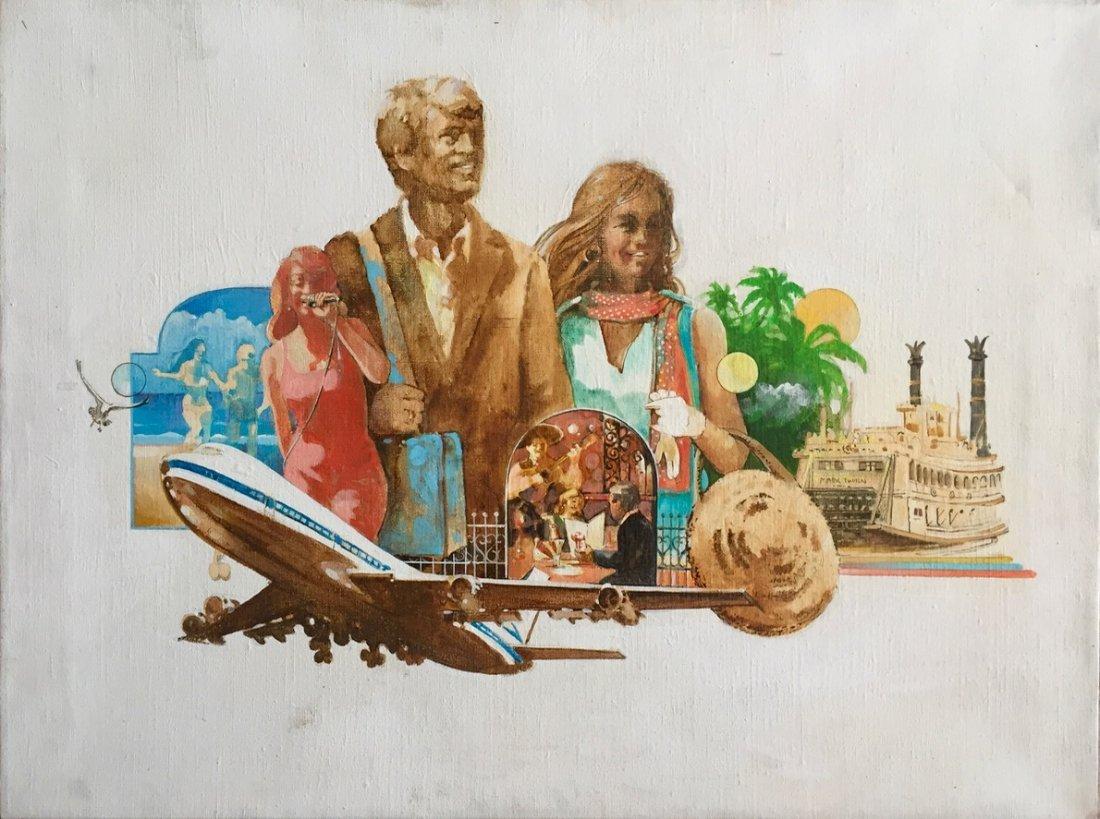 Travel Advertisement Illustration Painting, 1960's