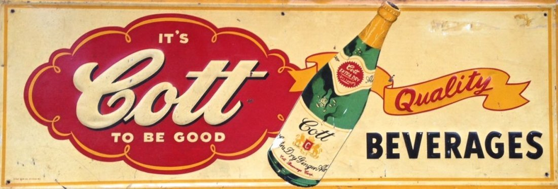 Cotts Beverages Embossed Tin Advertising Sign, 1950's