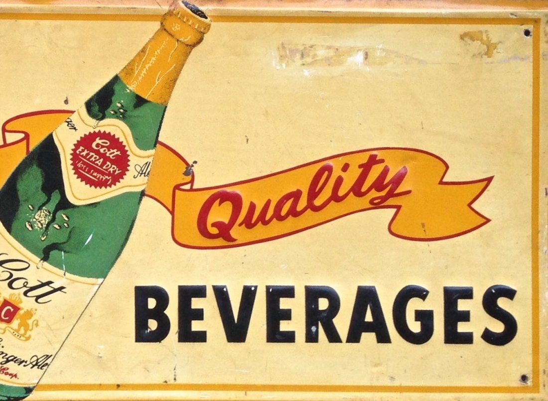 Cotts Beverages Embossed Tin Advertising Sign, 1950's - 3