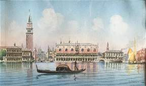 Italian Watercolor, Gondola On The Canal, 1930's