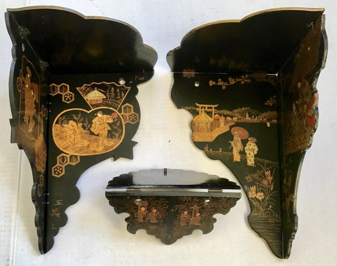 Antique Chinese Chinoiserie Lacquer Wall Shelves (3)