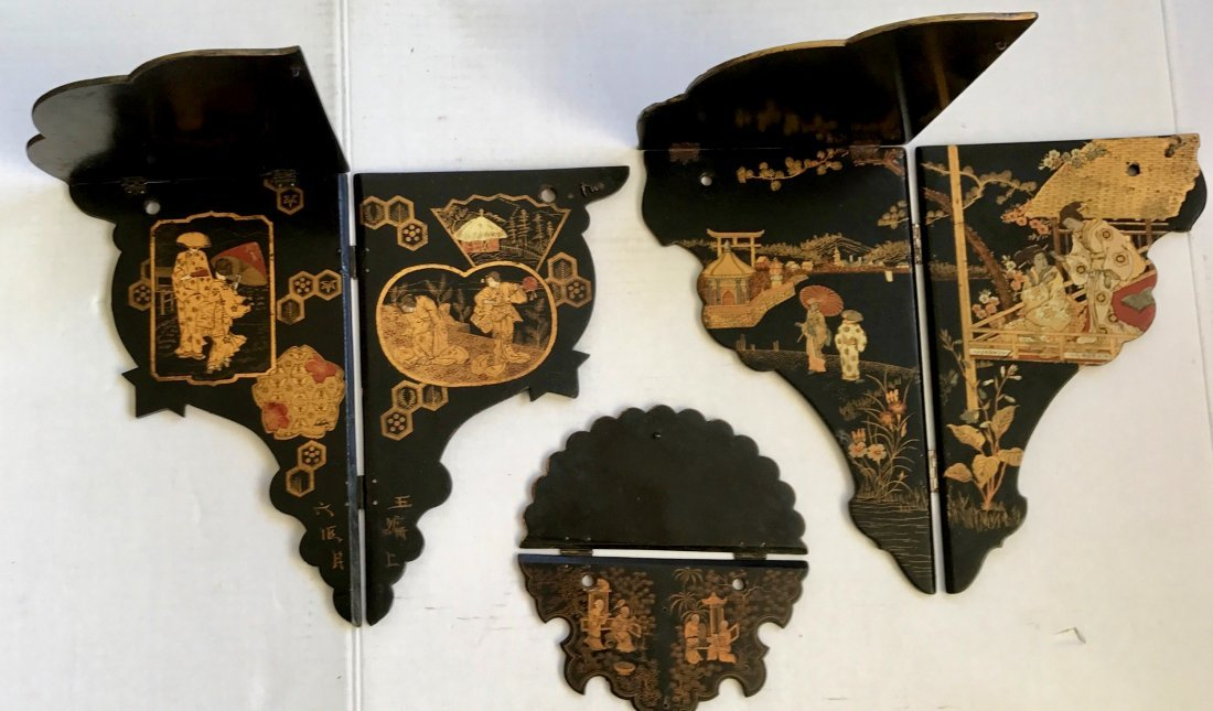 Antique Chinese Chinoiserie Lacquer Wall Shelves (3) - 2