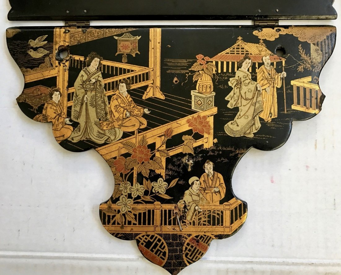 Antique Chinese Chinoiserie Lacquer Wall Shelves - 2