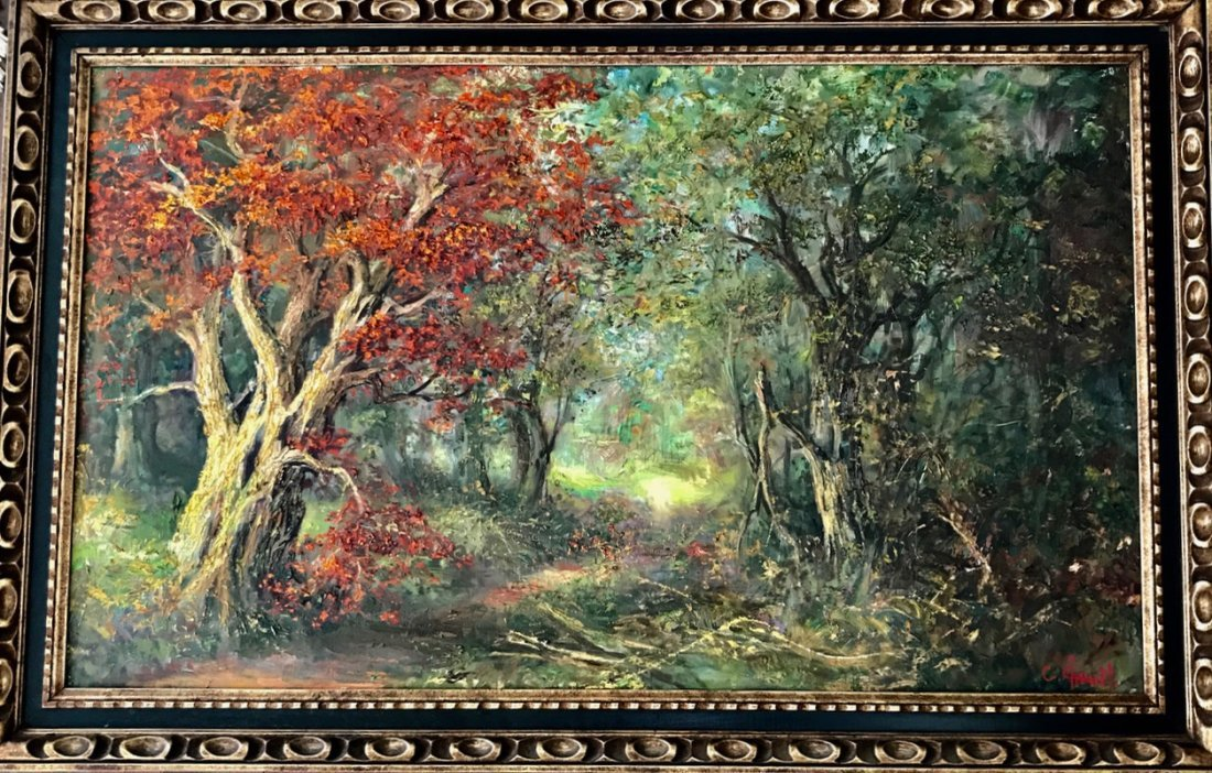 French Forest Landscape Oil Painting, Charles Chenet
