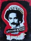 """Freddie Mercury """"God Save The Queen"""" Painting, Signed"""