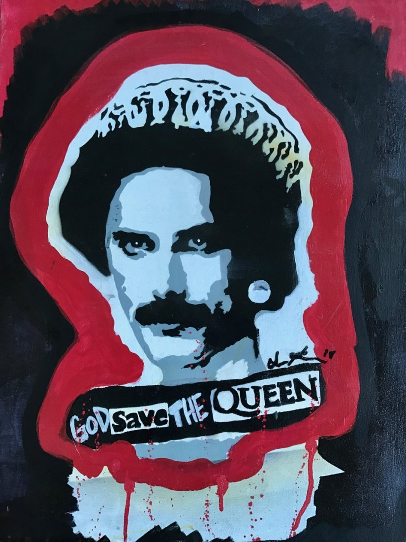 """Freddie Mercury """"God Save The Queen"""" Painting, Signed - 3"""
