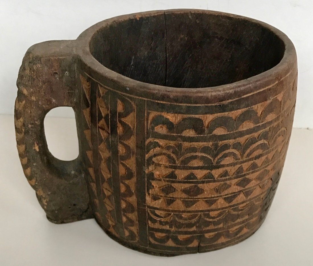 """Carved Wood Vessel With Handle: 8.75"""" x 6.75"""""""