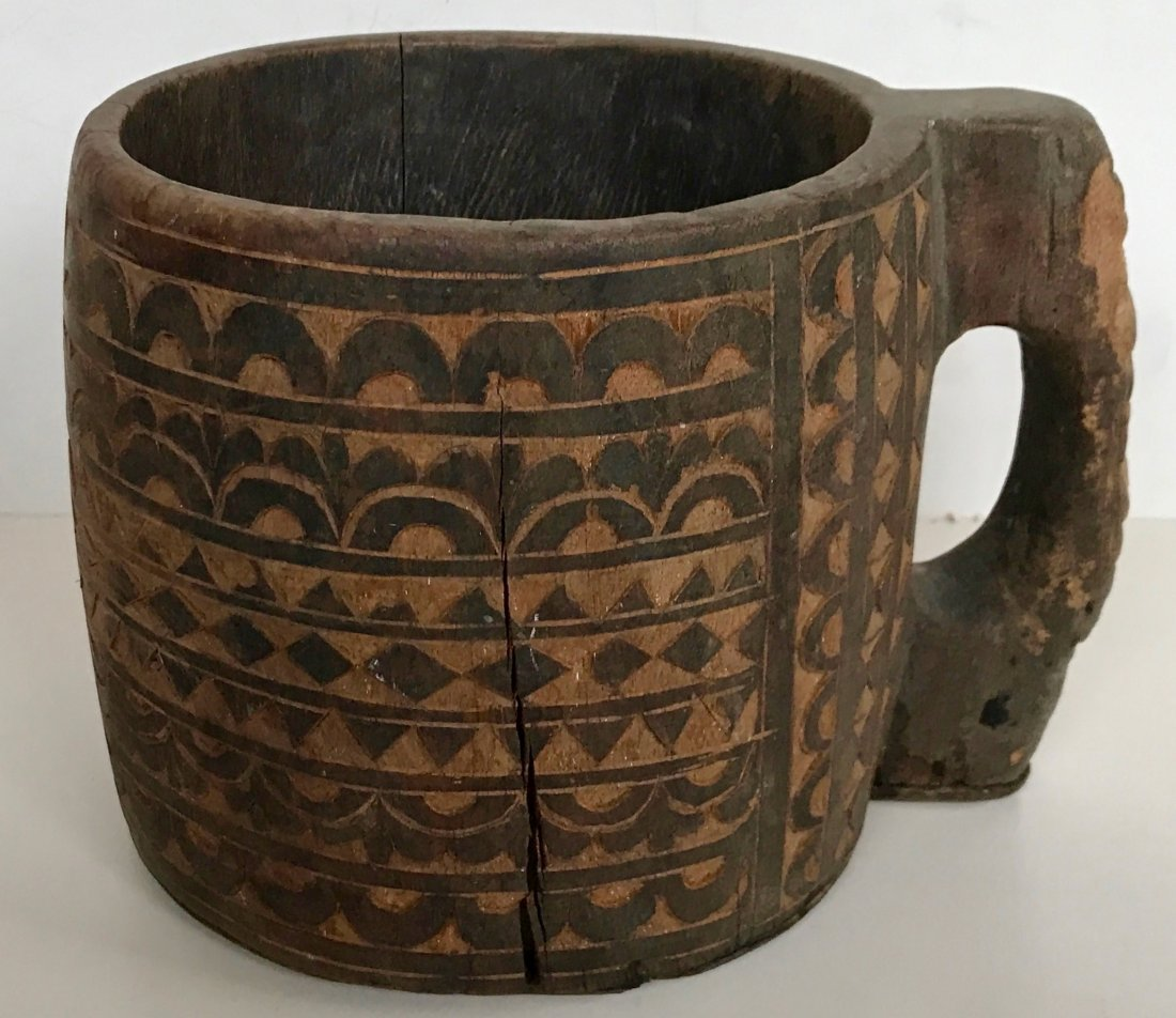 """Carved Wood Vessel With Handle: 8.75"""" x 6.75"""" - 5"""
