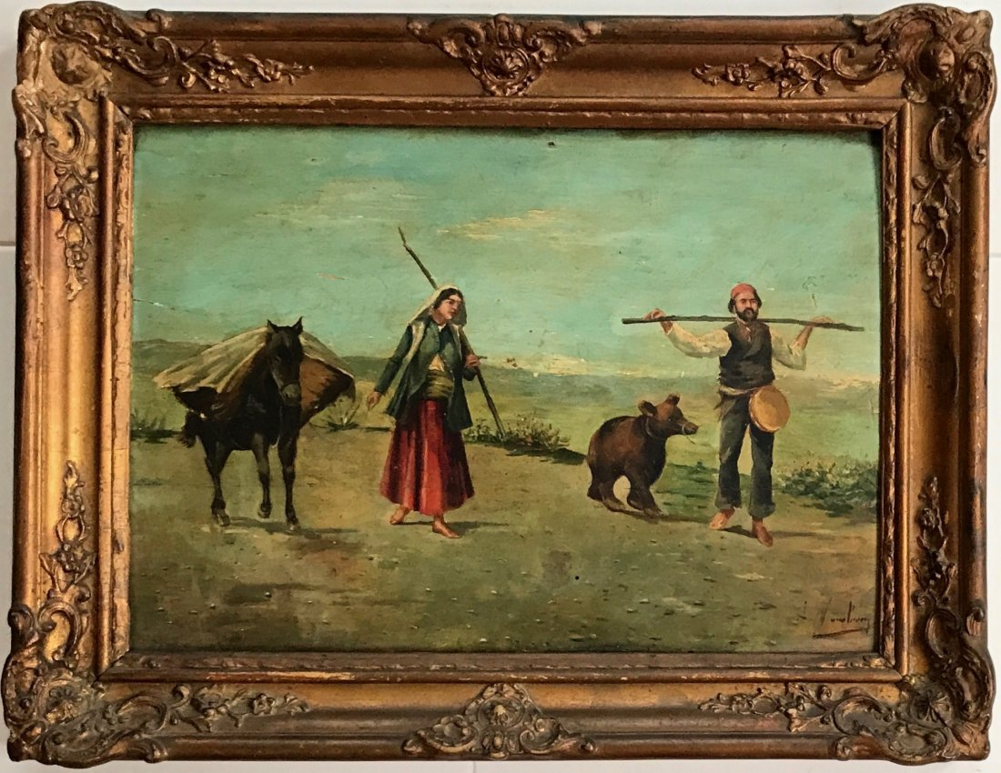 19th C. European Painting, Gypsy Bear Trainer, Signed