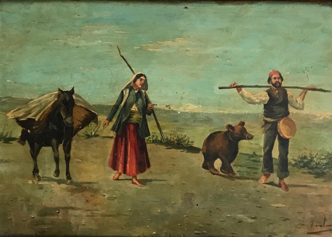 19th C. European Painting, Gypsy Bear Trainer, Signed - 3
