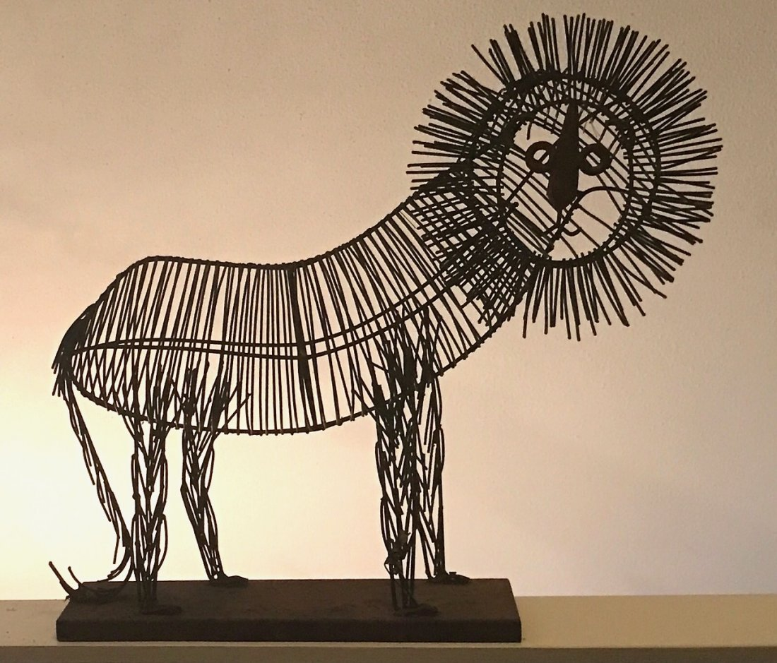 "Modernist Wire Lion Sculpture: 24"" hgt. x 26"" lg."