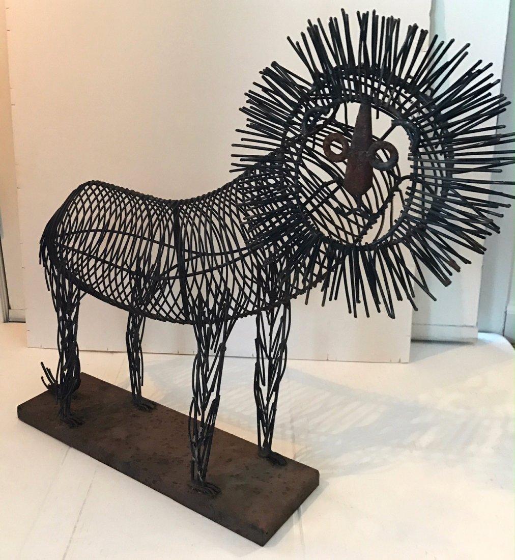 """Modernist Wire Lion Sculpture: 24"""" hgt. x 26"""" lg. - 2"""