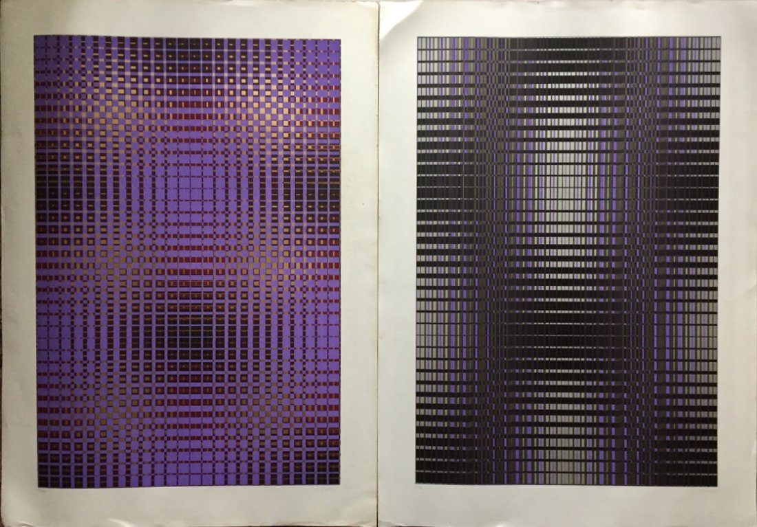 Modernist Op-Art Metallic Chrome Silkscreens, Goldberg