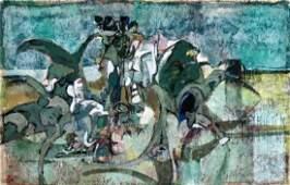 Midcentury Modern Abstract Painting,Glenn Bradshaw 1958