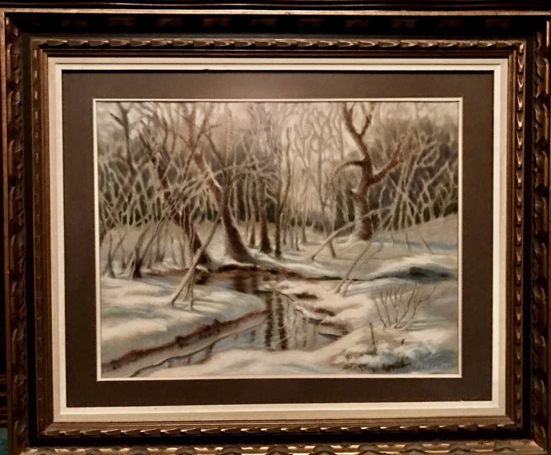 American Snowscape Forest Painting, M.Weston