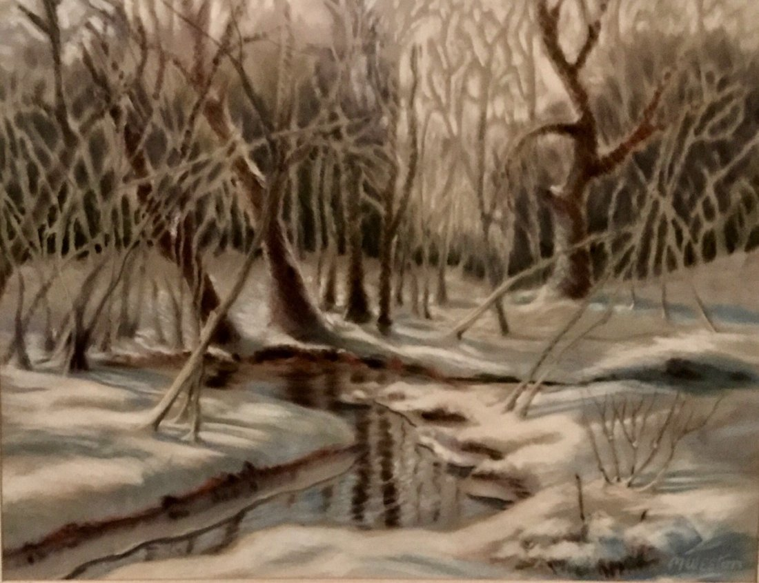 American Snowscape Forest Painting, M.Weston - 3