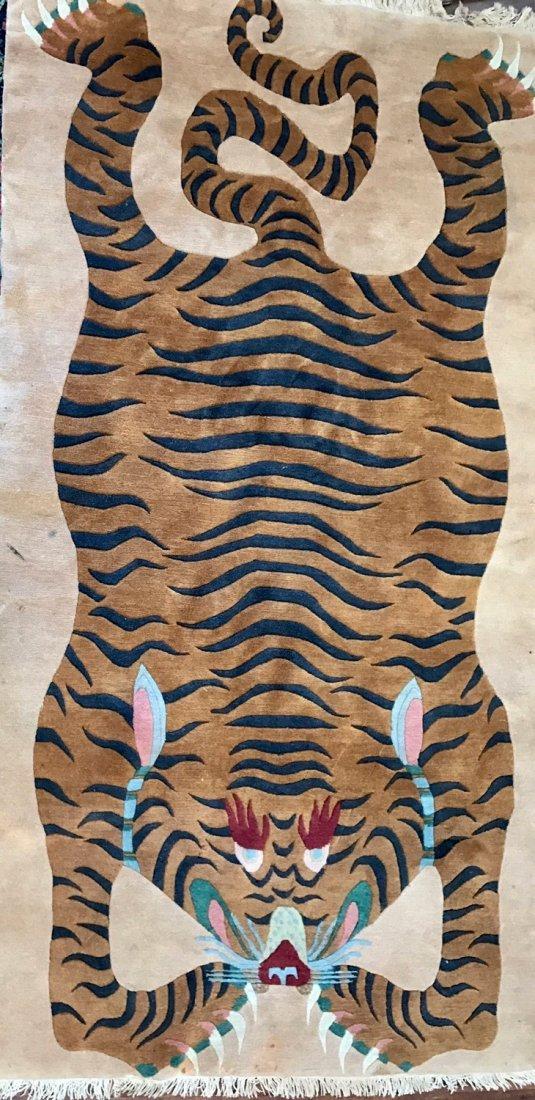 "Tibetan Rug -Sprawled Tiger, 7' 6"" x 3' 10"""