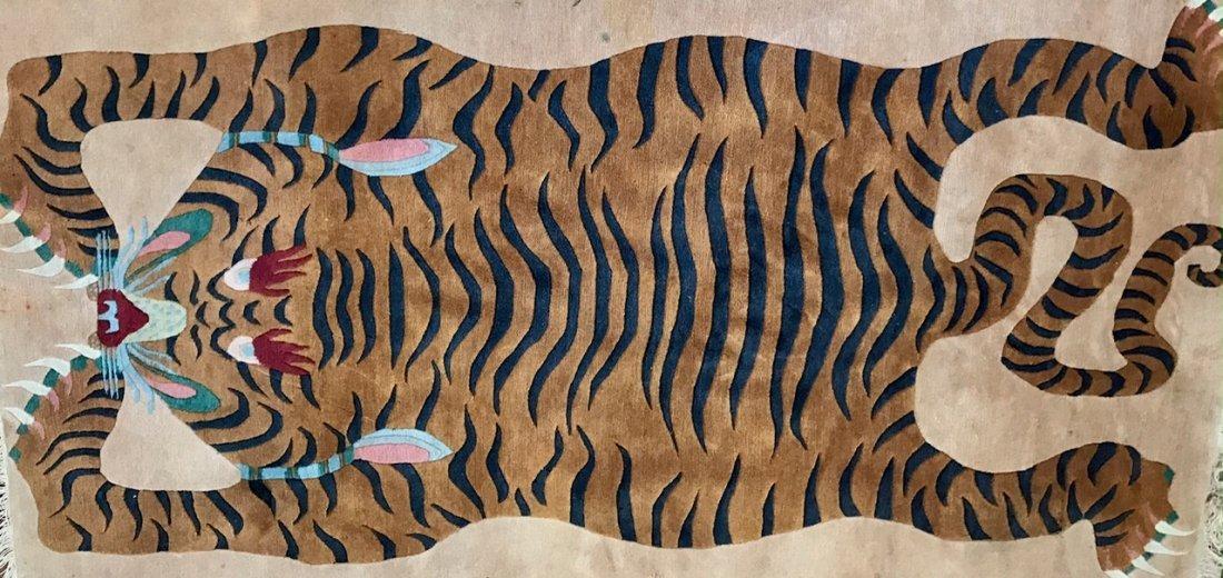"Tibetan Rug -Sprawled Tiger, 7' 6"" x 3' 10"" - 3"