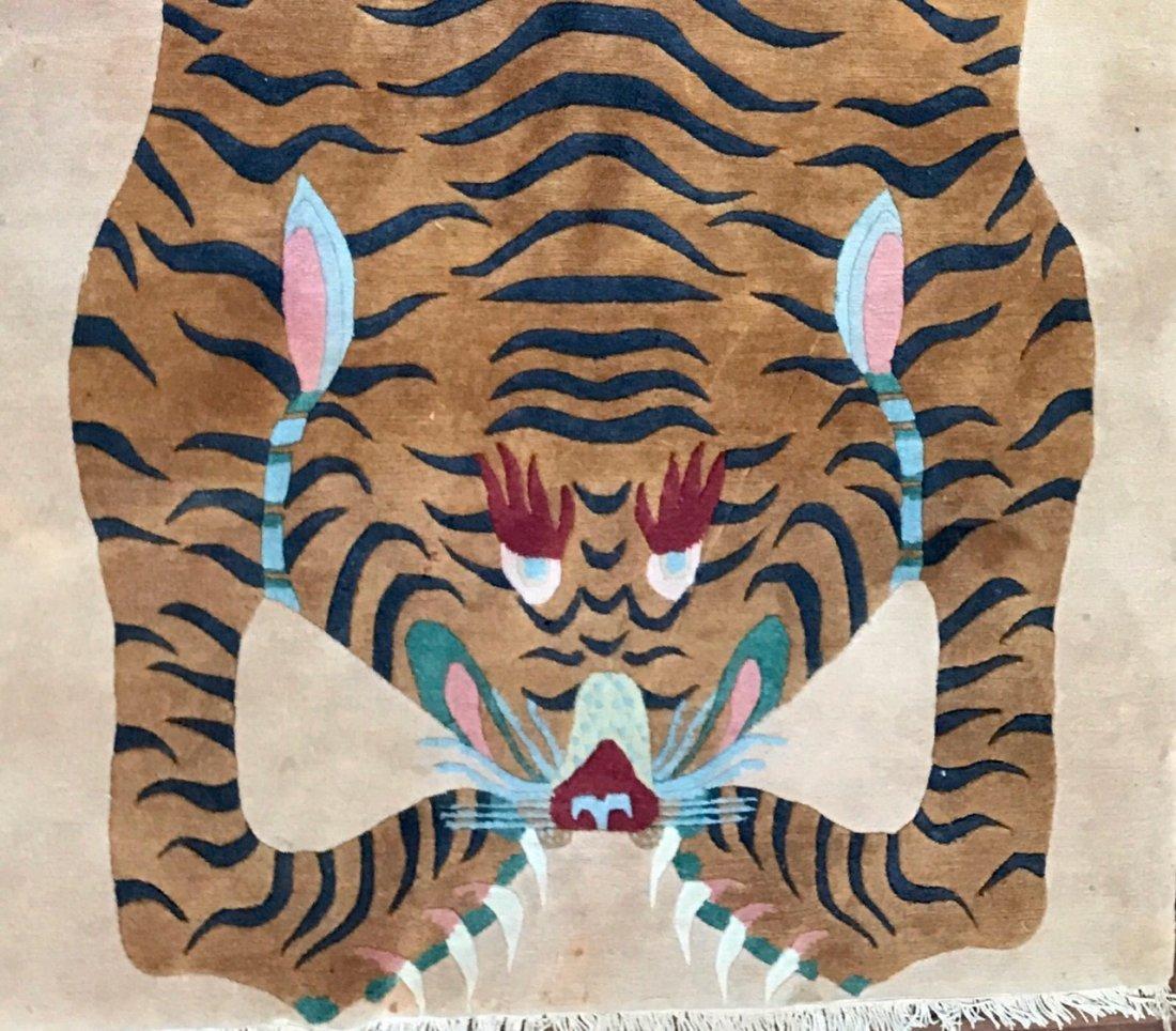 "Tibetan Rug -Sprawled Tiger, 7' 6"" x 3' 10"" - 4"