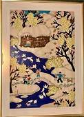 Chinese Country Peasant Folk Art Painting, Signed