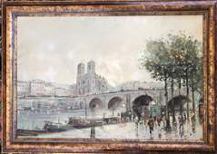 "Antonio Devity, Parisian Oil Painting ""Along The Seine"""