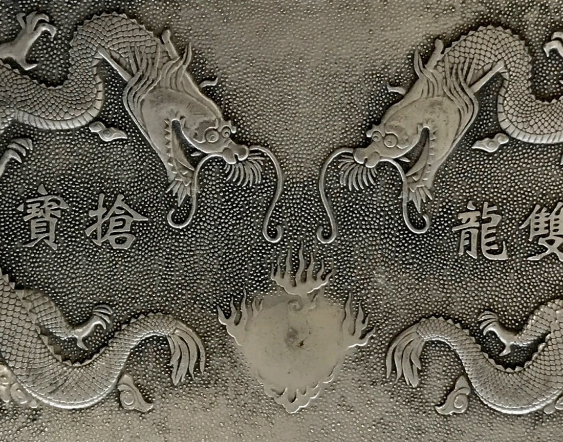Chinese Silver Dragon Plaque or Scroll Weight - 3
