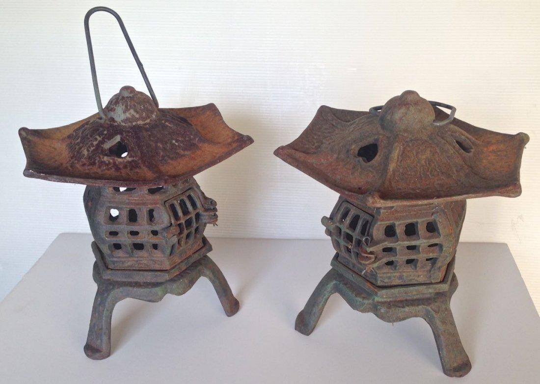 Pair of Japanese Iron Lanterns