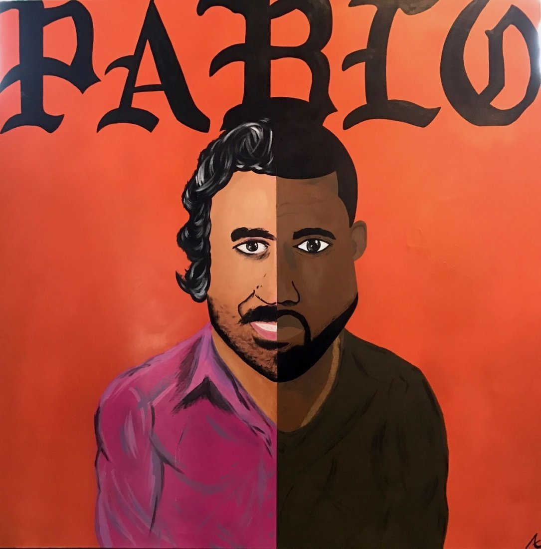 """Kanye West """"PABLO"""" Day-Glo Painting, Signed"""