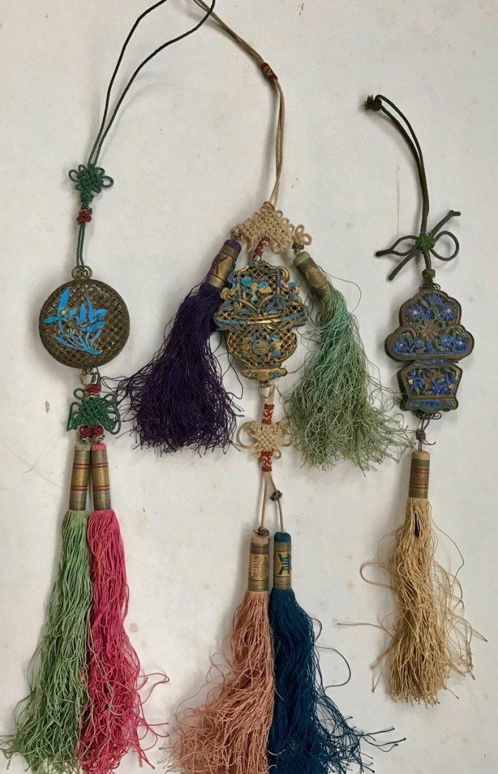 Chinese Gilt Enamel Pendants with Silk Tassels (3)