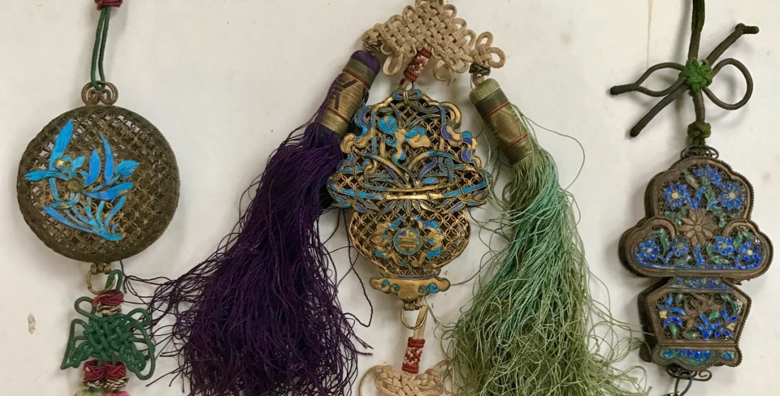 Chinese Gilt Enamel Pendants with Silk Tassels (3) - 2
