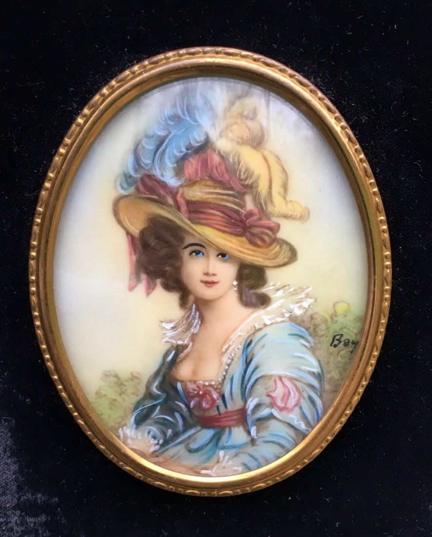 19th Century French Miniature Painting, Signed