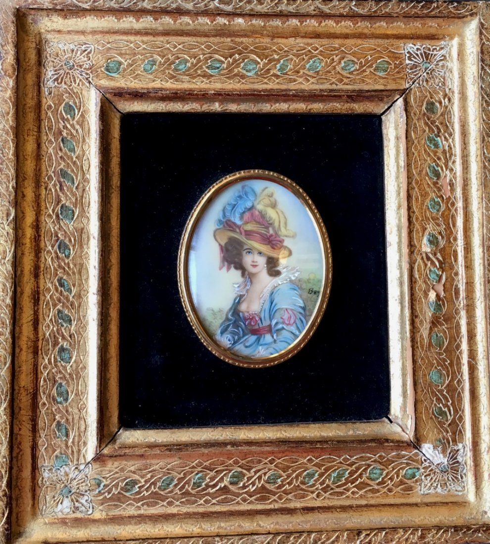 19th Century French Miniature Painting, Signed - 3