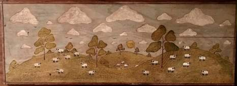 American Carved Folk Art And Painted Landscape Plaque