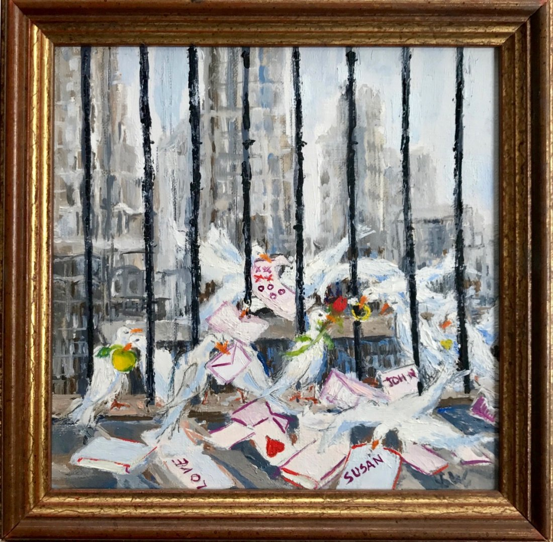 New York City Urban Interior Oil Painting, A Birds View