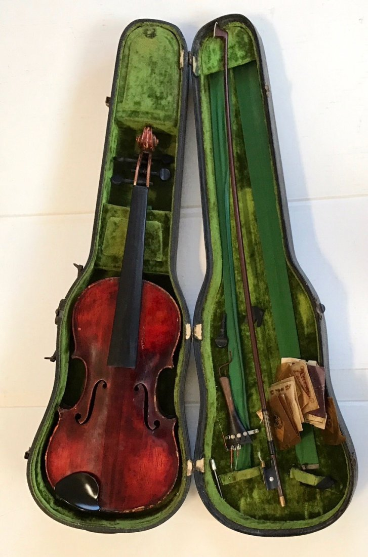 Antique Violin With R.F. Hoyer Bow & Case