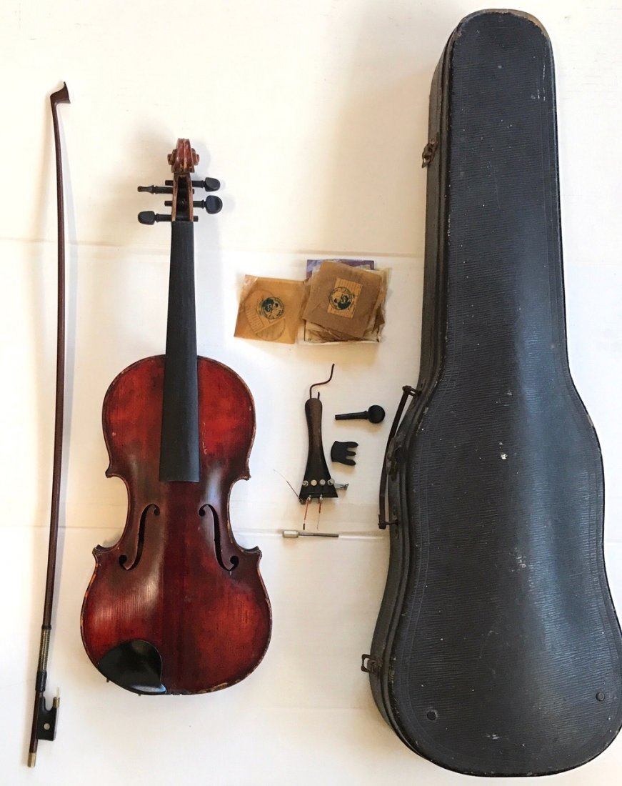 Antique Violin With R.F. Hoyer Bow & Case - 4