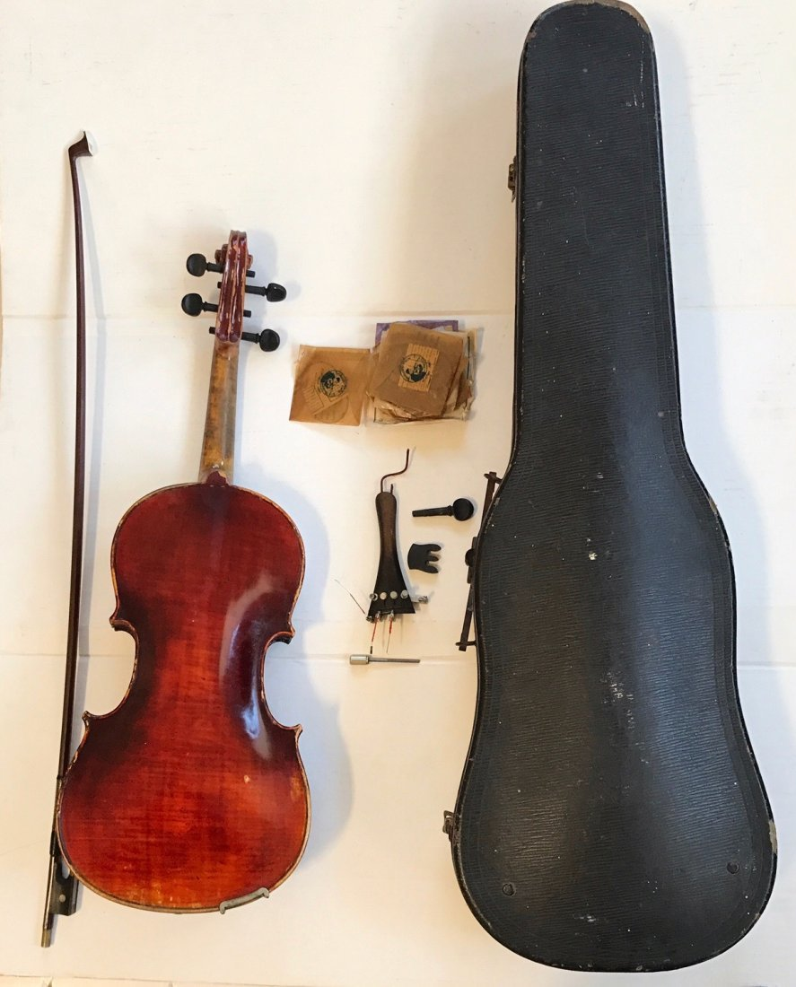 Antique Violin With R.F. Hoyer Bow & Case - 5