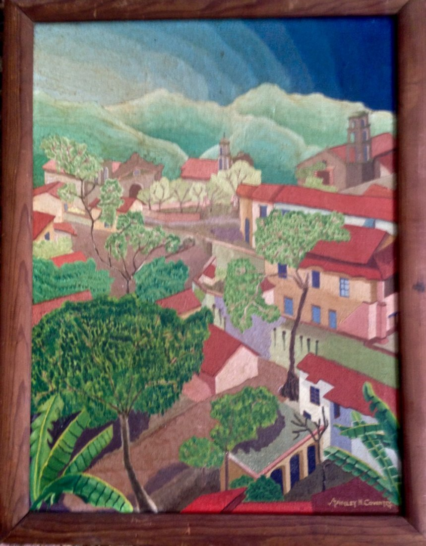Tropical Village Landscape Painting, S. Coventry 1930's