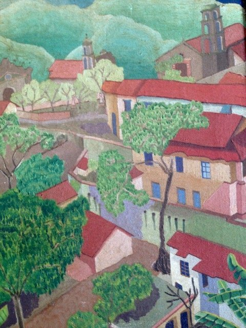 Tropical Village Landscape Painting, S. Coventry 1930's - 3