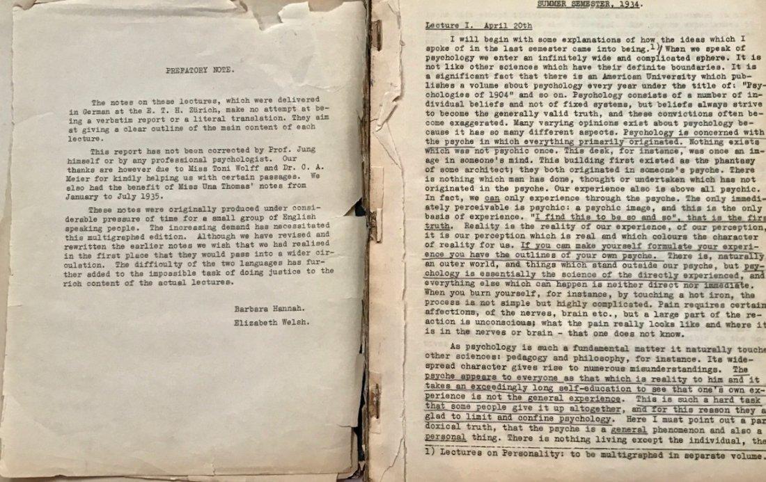 Carl Jung, E.T.H. Lectures 1934-35, Private Circulation - 3