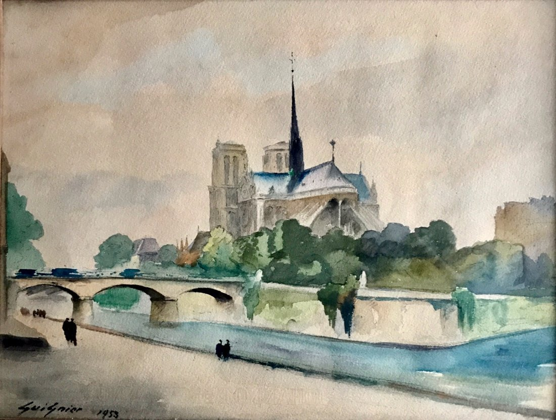 Fernand Guignier Watercolor, Along The Seine,Paris 1953