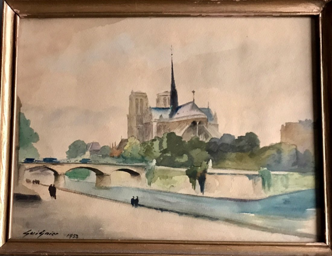 Fernand Guignier Watercolor, Along The Seine,Paris 1953 - 3